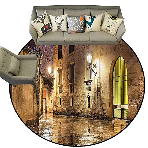 - Round Small Door MatGothic Decor Gothic Ancient Stone Quarter of Barcelona Spain Renaissance Heritage Gothic Night Street Photo Living Dining Room Bedroom Hallway Office Carpet D75 Cream