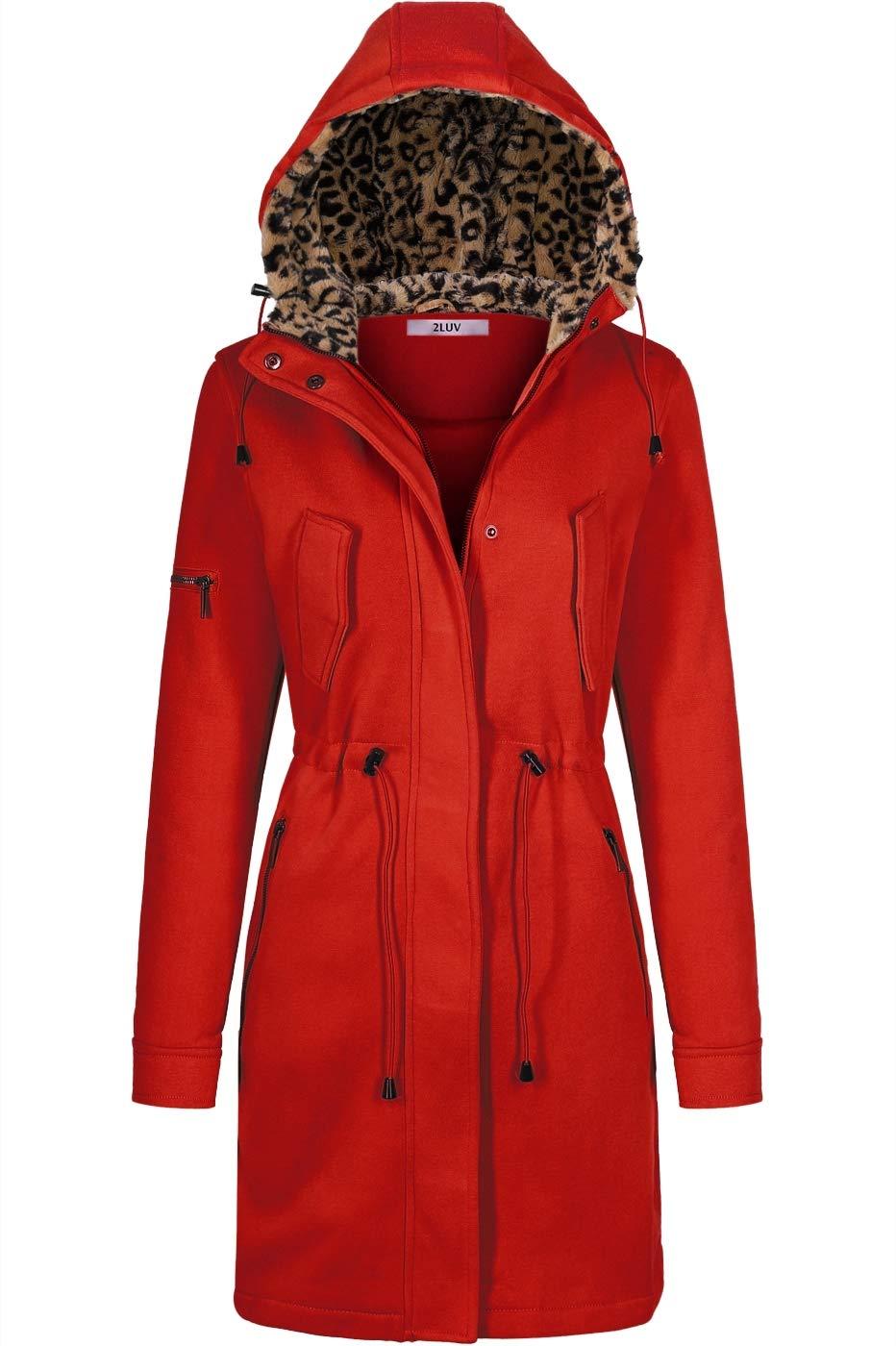BodiLove Women's Anorak Jacket Parka Outwear with Fleece Hoodie Red L by BodiLove