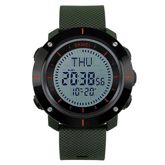 los deportes de los hombres militares brújula digital reloj cronómetro resistente al agua reloj de alarma ejército verde: Amazon.es: Relojes