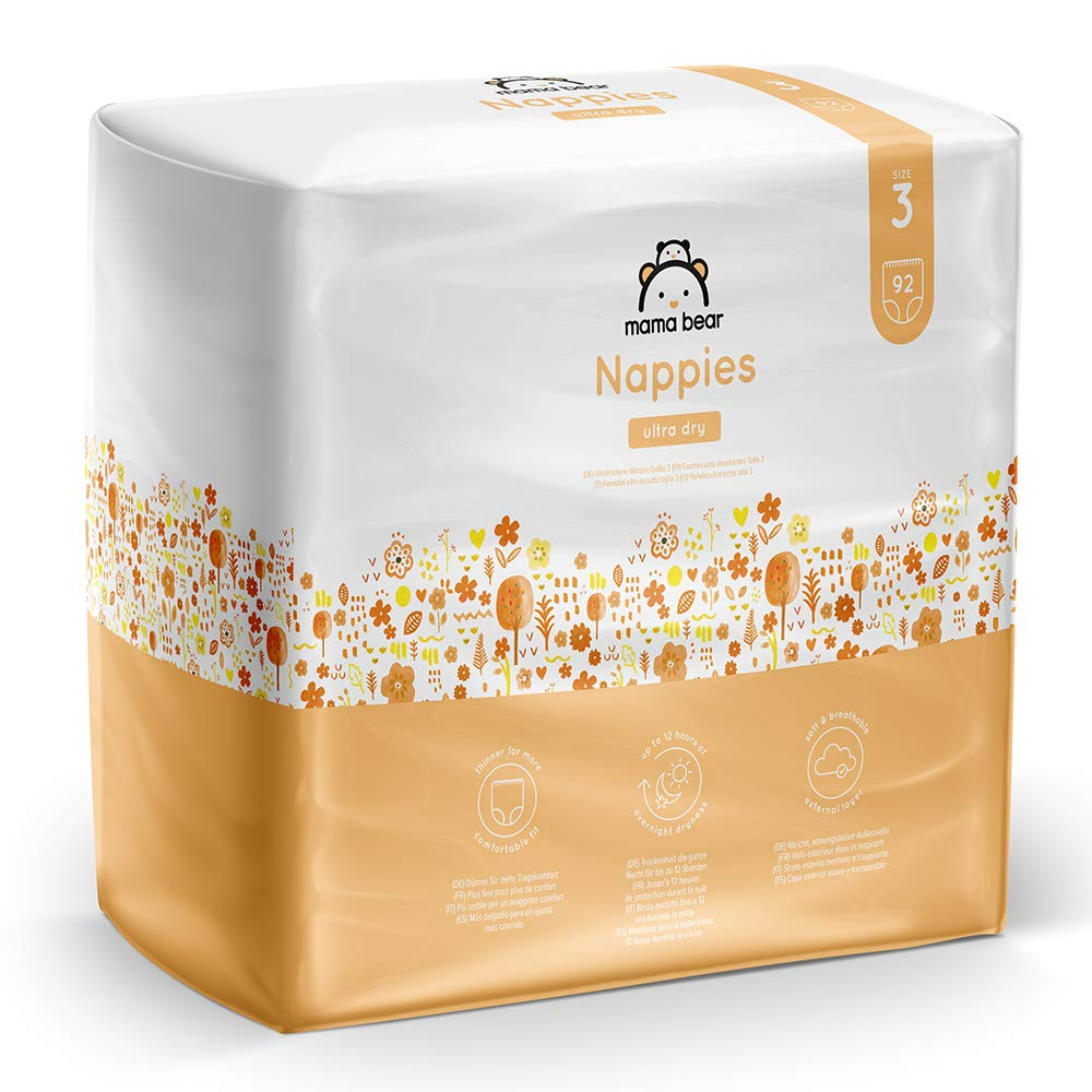 Brand Mama Bear Ultra Dry Nappies Size 3 4-9 kg - With channels- 184 nappies 2 packs x 92