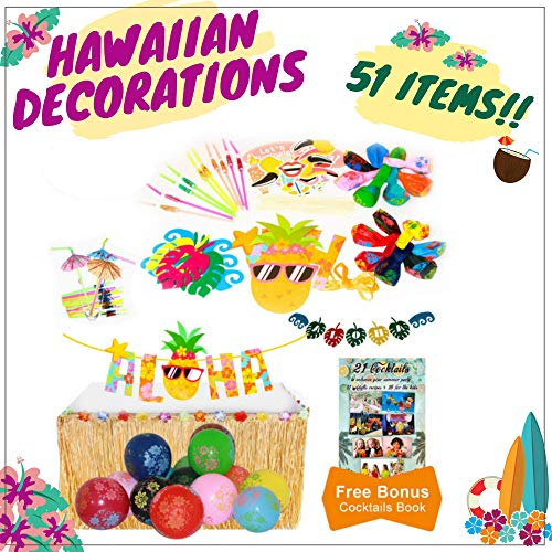 Angel's Lifestyle Products Hawaiian Party Decorations with Aloha Sign Banner Luau Photo Booth Props and ()