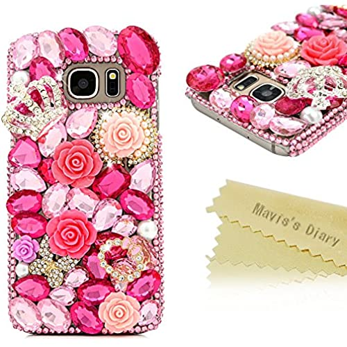 Galaxy S7 Case - Mavis's Diary 3D Handmade Luxury Series Bling Pink Crystal Shiny Diamonds Silver Crown Golden Sales