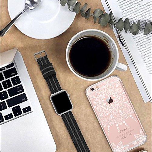 Funda iPhone 6s, Funda iPhone 6, MOSNOVO Blanco Henna Mandala Lace Transparente Cover Diseño de Plástico Impreso con TPU Bumper Protectora de Espalda Cubierta para iPhone 6/6s (4.7) (White Henna) White Henna