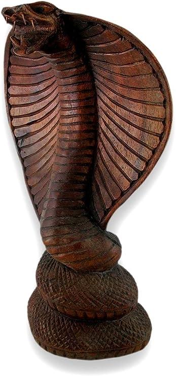 "Hooded Cobra Snake Statue Sculpture Handmade Carved suar wood Bali Art 10/"""