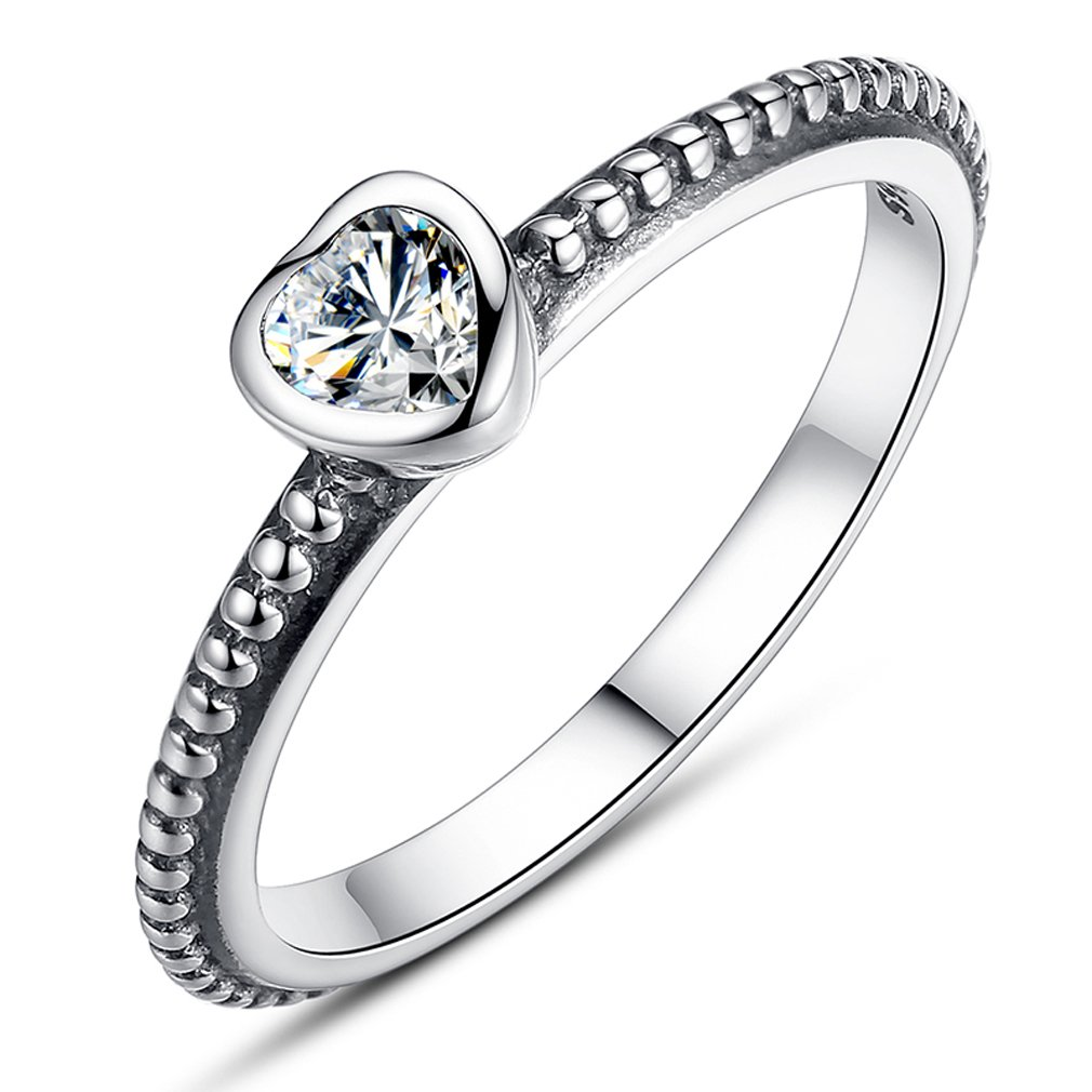 Everbling One Love 925 Sterling Silver Stackable Ring Clear CZ EBYZYRPA7107