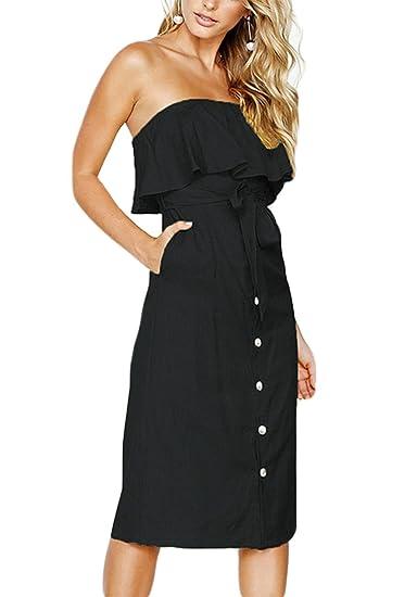 50380838d01c FCYOSO Women's Off Shoulder Ruffle Button Down Tie Waist Casual Midi Dress  with Pockets Black XS