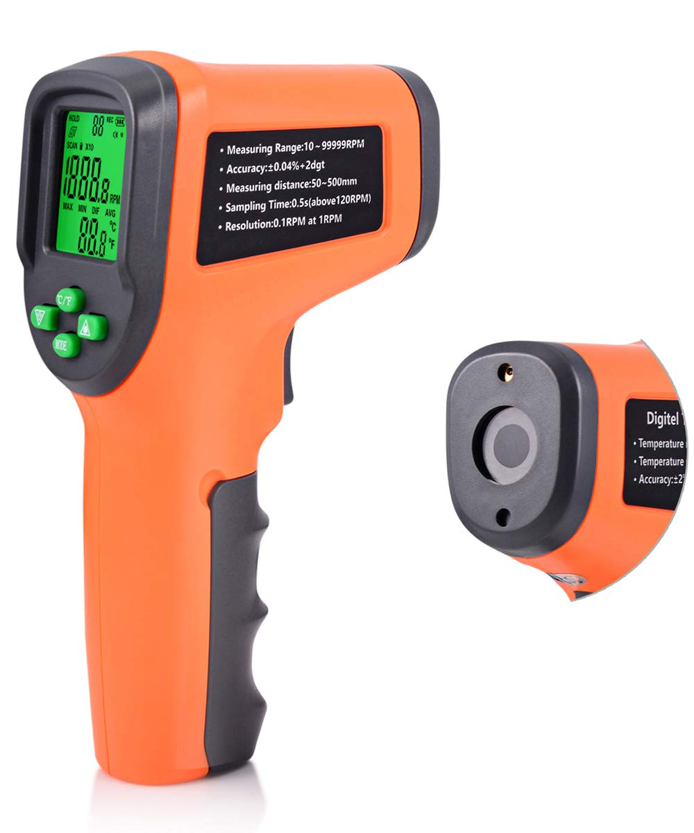 FOSHIO Digital Photo Tachometer Portable Non-Contact RPM Tach Gauge Gun With Reflective Tape High Precision 10-99999RPM Battery Excluded by FOSHIO