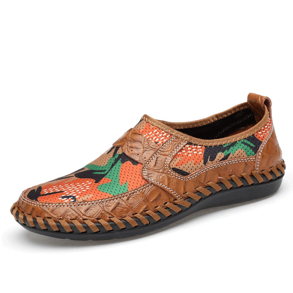 UPIShi Mesh Breathable Men Flats Casual Driving Moccasin Leather Loafers Lightweight Stitching Shoes Brown 43