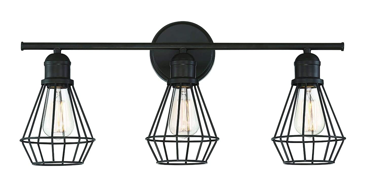 Trade Winds Lighting TW80021ORB Industrial Retro 3 Light Bath Wall Vanity Wire Cage Fixture in Oil Rubbed Bronze
