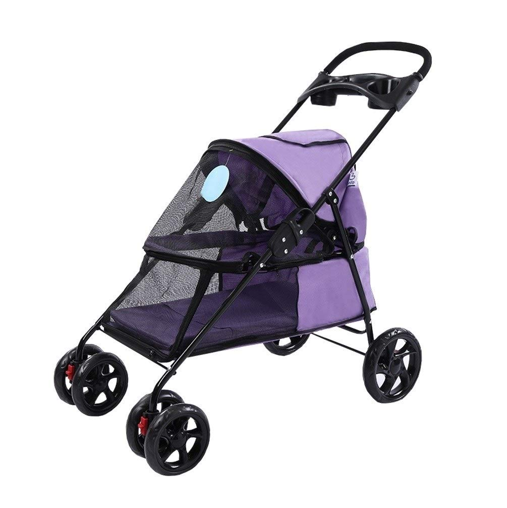 5 Dog Stroller, Rain Wind Cover 4 Wheel Pushchair Pram Carrier Foldable Trolley Cat Cart For Outdoor Travel Trip Teddy (color   7)
