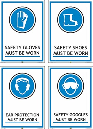Mr Safe Ppe Safety Signs C Pack Of 4 Self Adhesive Stickers Each