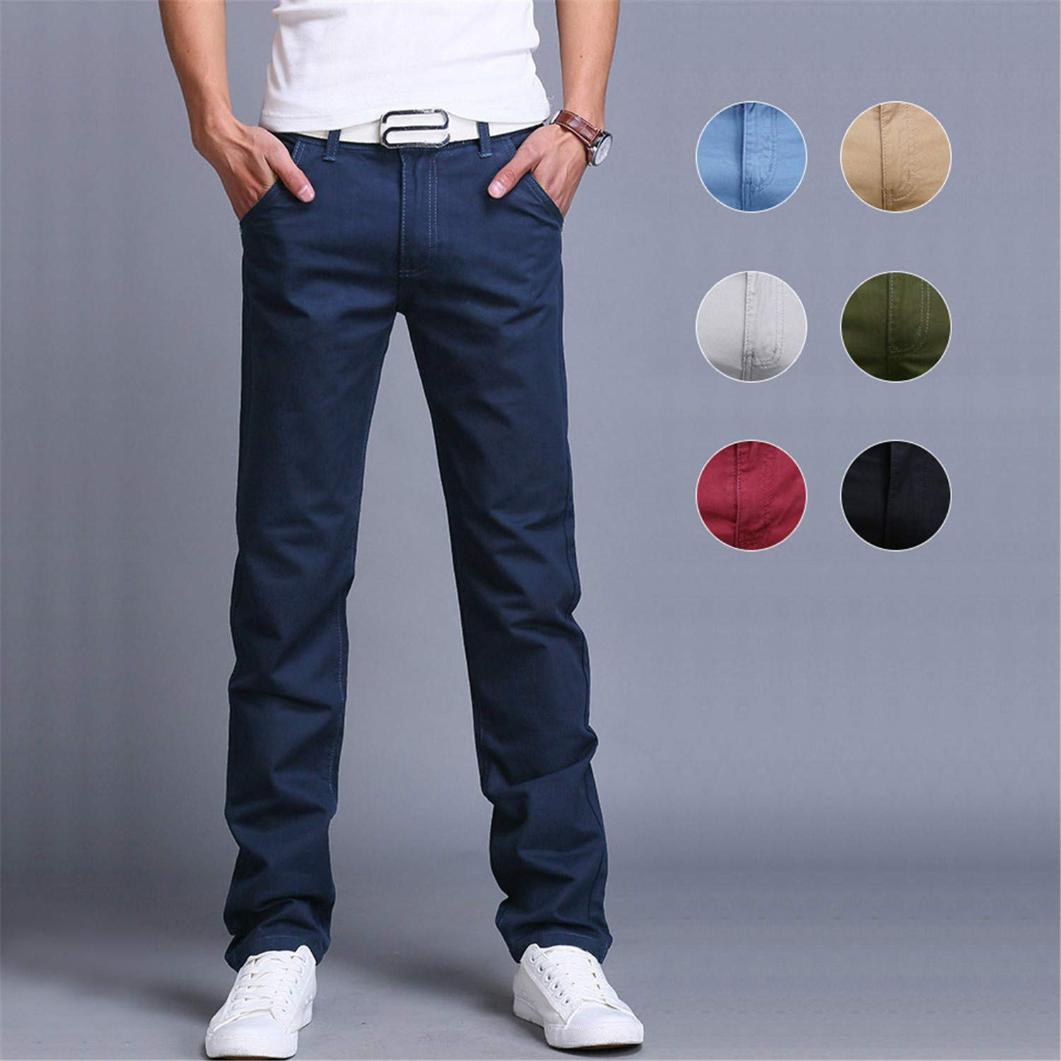 Eslove Fashion Men Business Casual Pants Slim Straight Trousers Spring Summer Long Pants