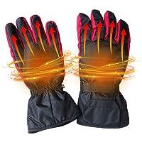 KOBWA - Guantes eléctricos para hombre y mujer, calentados a pilas, cálidos guantes térmicos de fibra de carbono para invierno e impermeables, ideales para interior/exterior/camping/Cycling/motocicleta/senderismo/ciclismo/ciclismo