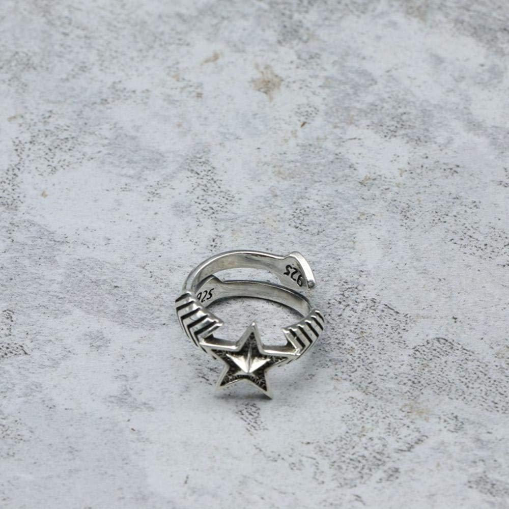 Daeou Open Ring S925 Sterling Silver Men and Women Punk Rock Pentagram Love Arrow Ring