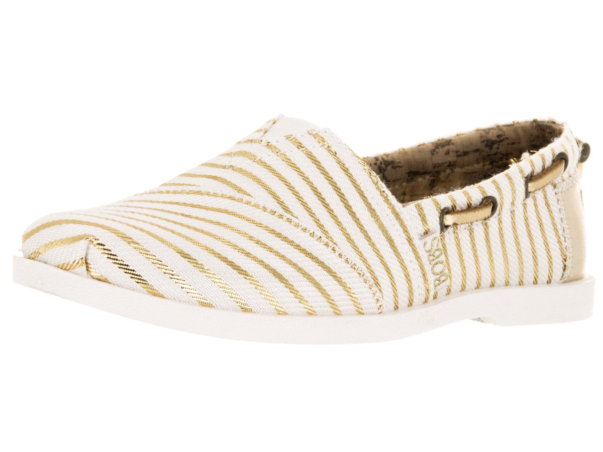 Skechers BOBS from Women's Chill Luxe Flat B019S9YYH8 6 B(M) US|White/Gold