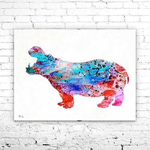 - Hippo 3 Watercolor Print, Fine Art Print, Children's Wall Art, animal watercolor, watercolor painting, Hippo watercolor, animal art, Hippo art