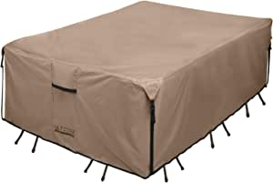 """ULTCOVER 600D PVC Durable Square,Rectangular or Oval Patio Table with Chair Cover, 100% Waterproof Outdoor Furniture Covers (Retangular 111""""(L) x74(W), Brown)"""