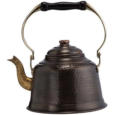 DEMMEX 2017 Heavy Gauge 1mm Thick Hammered Copper Tea Pot Kettle Stovetop Teapot (1.6-Quart) (Antiqued Copper)