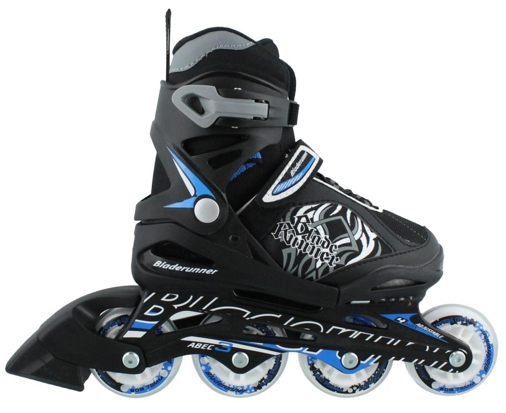 Bladerunner Kids Phoenix 4 Size Adjustable Skate, Black/Blue, 11j - 1