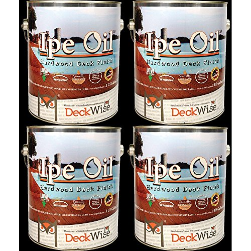 DeckWise Ipe Oil Hardwood Deck Finish, UV Resistant, 4 Cans, 1 Gallon Each