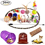 #5: MIBOTE 24Pcs Cat Toys Variety Pack for Kitten, Cat Tunnel Catnip Fish Interactive Feather Teaser Wand Toy Fluffy Mouse, Crinkle Balls Bells for Cat, Puppy, Kitty