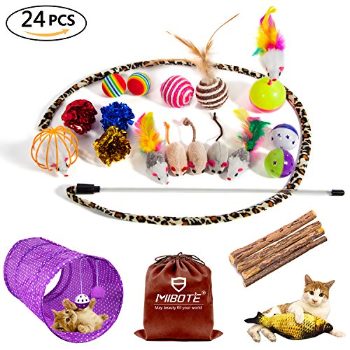 MIBOTE 24Pcs Cat Toys Variety Pack for Kitten, Cat Tunnel Catnip Fish Interactive Feather Teaser Wand Toy Fluffy Mouse, Crinkle Balls Bells for Cat, Puppy, Kitty