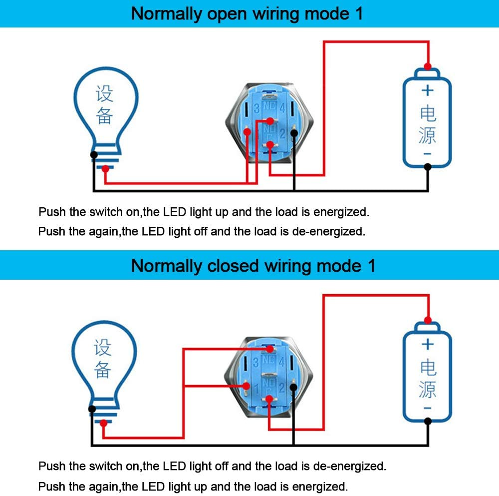 QitinDasen 3Pcs Premium 12V//24V 5A Self-locking Latching Push Button Switch White LED Light Stainless Steel IP67 Waterproof Switch with Socket Plug Wire 16mm Car Ignition Starter Switch
