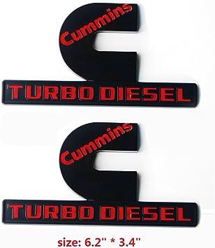 2x Red OEM Cummins Turbo Diesel Emblem Badge High Output RAM 2500 3500 W Mopar