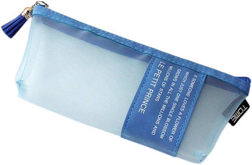 Estuche transparente para bolígrafos de estudiante, bolsa de malla triangular, bolsa de monedero de monedas, multifuncional, bolsa de cosméticos para niños y niñas, color gris: Amazon.es: Oficina y papelería