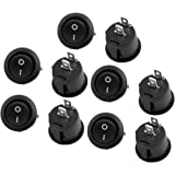 uxcell 10 Pcs Black Round Button SPST On/Off Rocker Switch AC 125V/12A 250VAC/10A