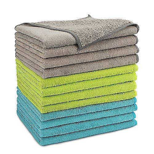AIDEA Microfiber Cleaning Cloths Softer Highly Absorbent, Lint Free Streak Free for House, Kitchen, Car, Window Gifts(12in.x16in.)—12PK