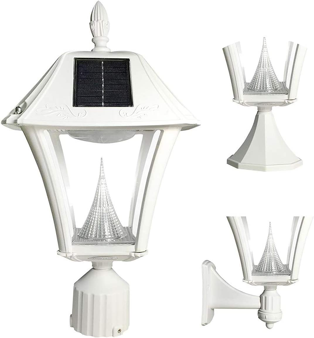 Gama Sonic GS-105FPW-W-WW Baytown II Lamp Outdoor Solar Light Fixture, Pole Pier Wall Mount Kits, White Finish