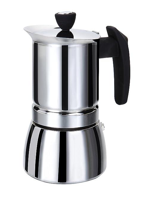 ROSSETTO Cafetera italiana, para cualquier fuego, incluido inducción; en acero inoxidable con asa negra, 10 tasses
