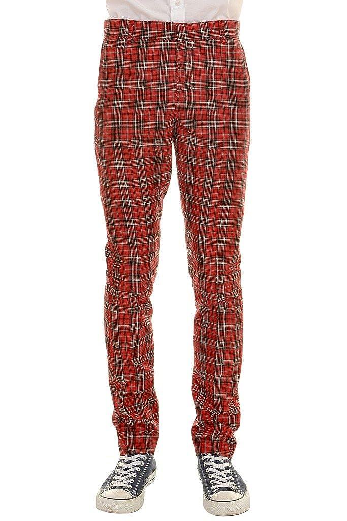 Mens 60s Vintage Retro Mod Ska Red Royal Stewart Tartan Trousers