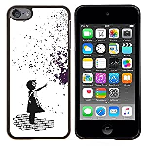 Jordan Colourful Shop - Banksy Girl Graffity For Apple iPod Touch 6 6th Generation Personalizado negro cubierta de la caja de pl????stico