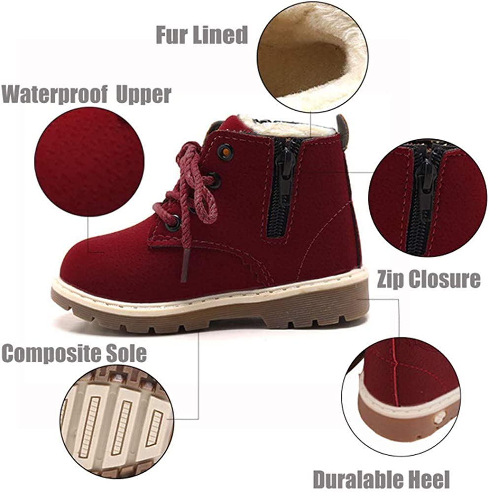 SOFMUO Baby Kids Boots Boys Girls Rubber Sole PU Leather Shoes Hiking Ankle Boots Toddler//Little Kid