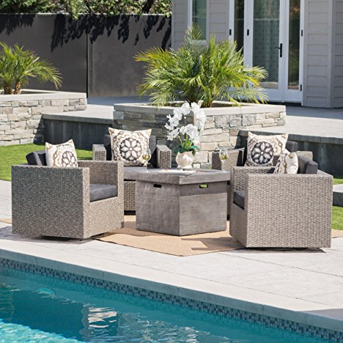 Venice Outdoor 5 Piece Chat Set with Mixed Black Wicker Swivel Club Chairs with Dark Grey Water Resistant Cushions and Grey Fire Pit (Fire Pit Chat Sets)