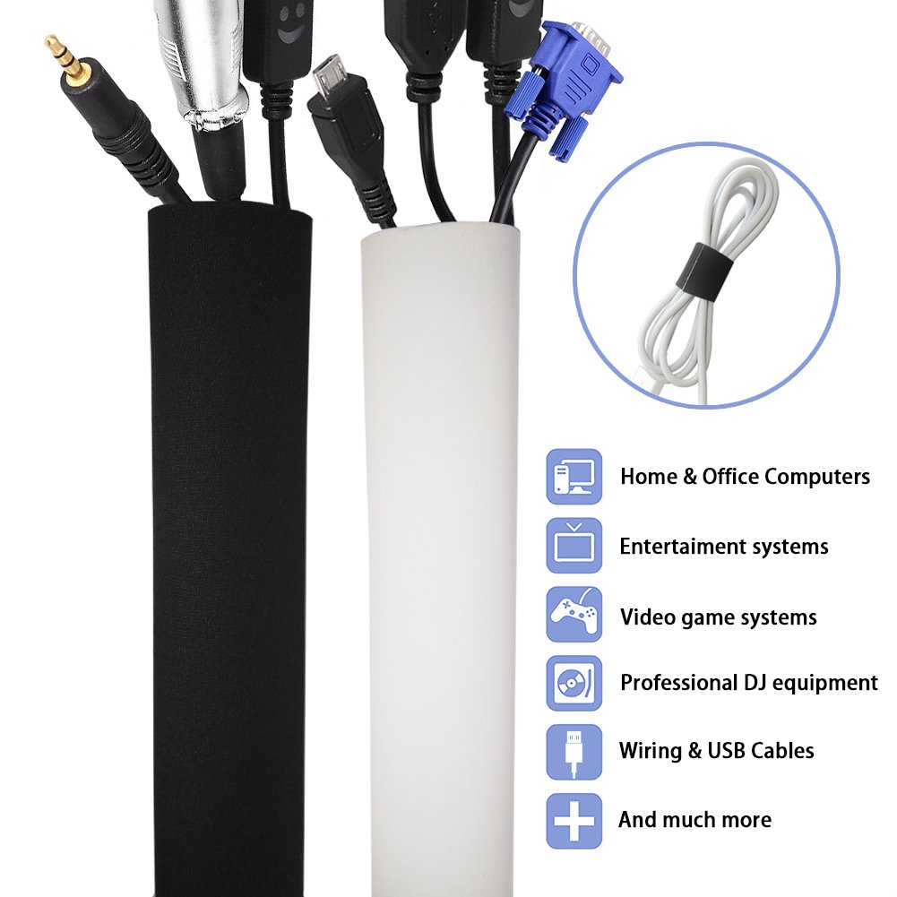 No Stitching Cable Management Sleeve, ILIVABLE 80 Inches Flexible Neoprene Cuttable Velcro Cord Organizer, Protect Wire from Cat/Dog/ Mouse Biting (Black & White) 1 Pack
