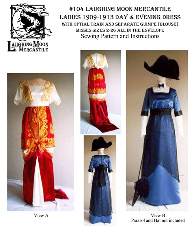 Edwardian Sewing Patterns- Dresses, Skirts, Blouses, Costumes Patterns - Laughing Moon #104 1909-1913 Day or Evening Dress $18.00 AT vintagedancer.com