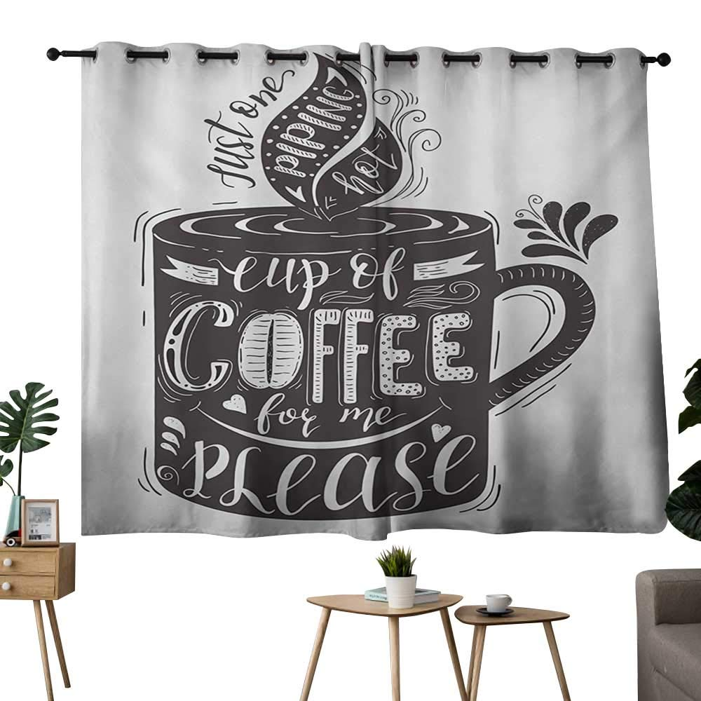 Decorative Curtains For Living Room Quote,Hand-drawn Artistic Lettering on a Coffee Cup Piping Hot Aromatic Beverage,Dark Taupe and White,for Room Darkening Panels for Living Room, Bedroom 42''x54'' by NUOMANAN