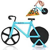 Pizza Cutter Bicycle Pizza Slicer Dual Stainless Steel Cutting Wheels with a Stand (Blue)
