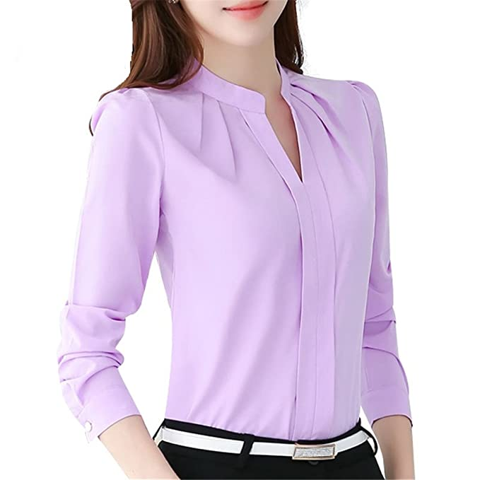 60639c9f55e9 CHIFFON Women Blouses Long Sleeve Blouse Tops Chemise Femme Shirts White  Pink Purple Lavender S
