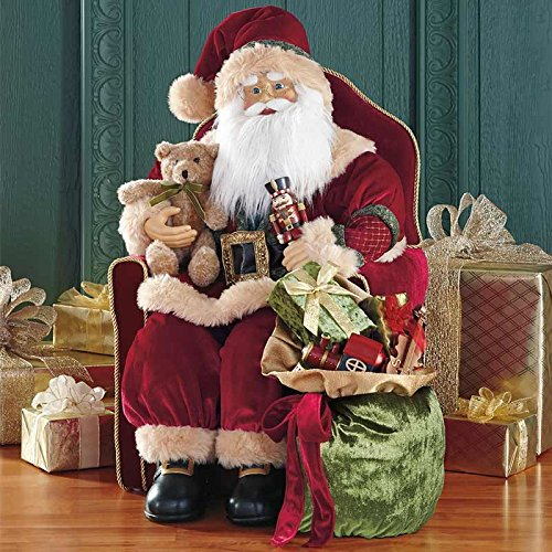 30'' Traditional Red Velvet Fabric Sitting Christmas Santa Luxury Statue Figure