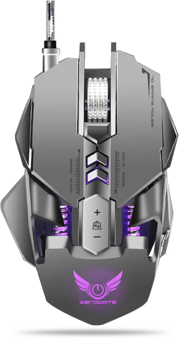 Gaming Mouse, JUKSTG-ZERODATE [7 Programmable Buttons][Ergonomic][Weight Adjustable] Wired Game Mouse with RGB Circular and Breathing Light, 3200 DPI,for Windows 7/8/10/2000/XP Vista Linux,Gray