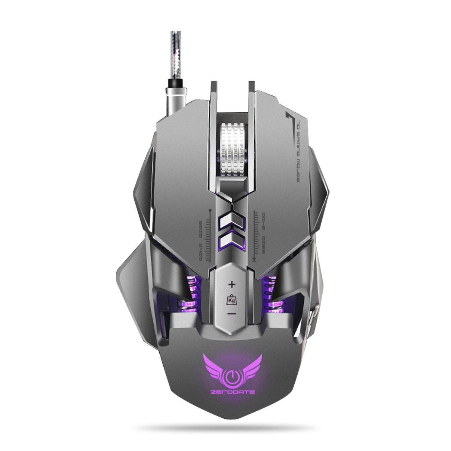 Gaming Mouse, JUKSTG-ZERODATE 7 Programmable Buttons Ergonomic Weight Adjustable Wired Game Mouse with RGB Circular and Breathing Light, 3200 DPI,for Windows 7 8 10 2000 XP Vista Linux,Gray
