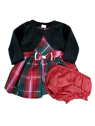 e78203f592e4e George Infant Toddler Girls Plaid Formal Holiday Dress Black Shrug Outfit 5T