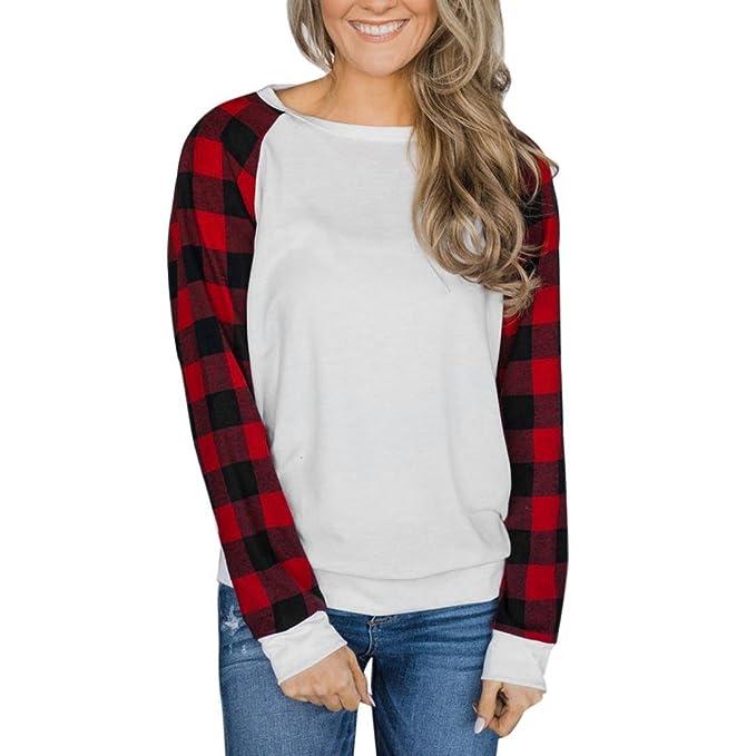Camisetas y tops,Koly Mujer Moda Algodón Camisas Manga Larga Elegante Moda Patchwork Enrejado Round
