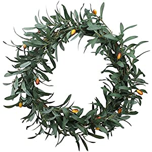 Duovlo 20'' Artificial Olive Wreath Front Door Wreath Greenery Branches Hanging Decoration 8