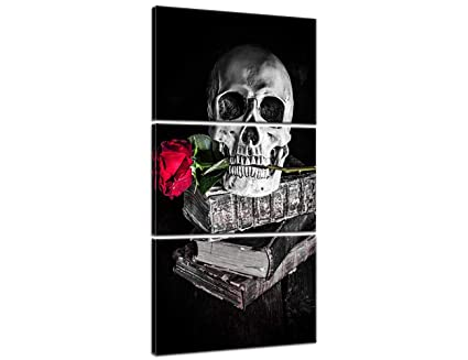 9201eaa052 Halloween Painting Skull Face Black and White Canvas Skeleton Red Rose Wall  Art Human Bone Prints
