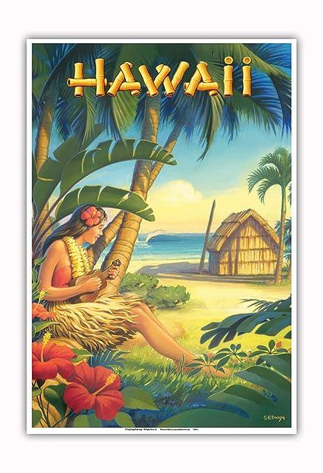 Pacifica Island Art Hawaii-bailarín Hawaiano con el Ukulele ...
